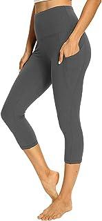 Women's Capri Yoga Pants with Pockets - High Waist Soft Tummy Control Strechy Leggings for Workout Running
