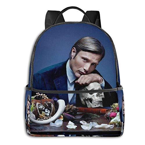 xiameng Hannibal Rucksack Unisexs Studententasche Klassische leichte Reißverschlussrucksäcke 14,5 x 12 x 5 Zoll