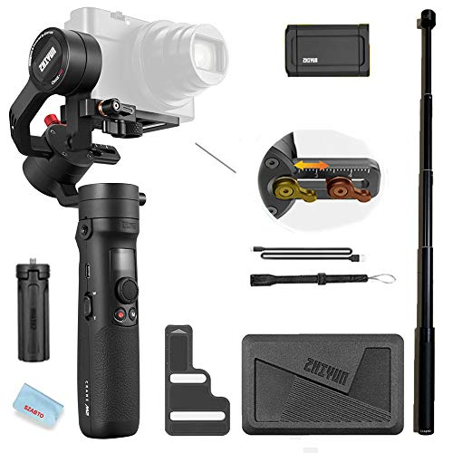 Zhiyun Crane M2 3-Axis Gimbals Compatible for Action Camera, Mirrorless Compact Cameras,Smartphones,Payload:130g - 720g,with Mini Tripod and Extension Rod