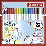 Rotulador punta de pincel STABILO Pen 68 brush - Estuche de cartón con 24 colores