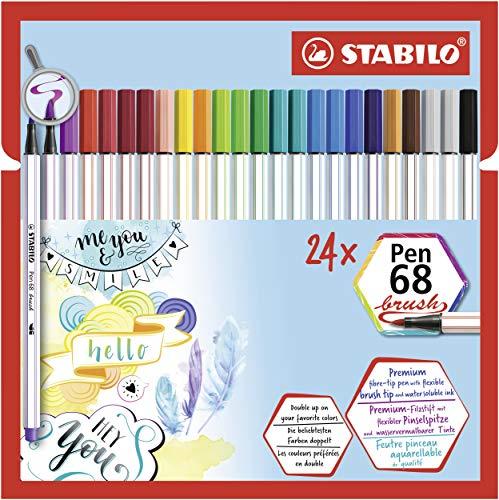 STABILO Pen 68 brush Premium-Filzstift mit Pinselspitze für variable Strichstärken, 24er Pack, mit 19 verschiedenen Farben