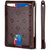 SERMAN BRANDS RFID Blocking Slim Bifold Genuine Leather Minimalist Front Pocket Wallets for Men with Money Clip (Stamped Brown 1.0)