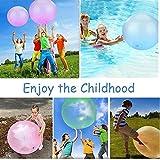 Amazing Bubble Ball, Wassergefüllter Interaktiver Gummi Big Elastic Tear-resistent Ballon Stretch Firm Ball Kinder Spaß Spielzeug Geschenk mit Blasrohr (Blau, 50cm)