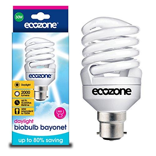Biobulb Ampoule Basse Consommation, Baionnette B22 - économie: 30W Equivalant à une Ampoule Incandescente 150w - 2000 Lm - Blanc Jour 6400k - Économie d'énergie supérieure à 80%, idéal pour les personnes souffrent de troubles affectifs saisonniers (TAS)