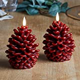 """Lights4fun, Inc. 4.5"""" x 3.5"""" Pair of Truglow Pine Cone Wax Flameless LED Battery Operated Candles with Remote Control"""