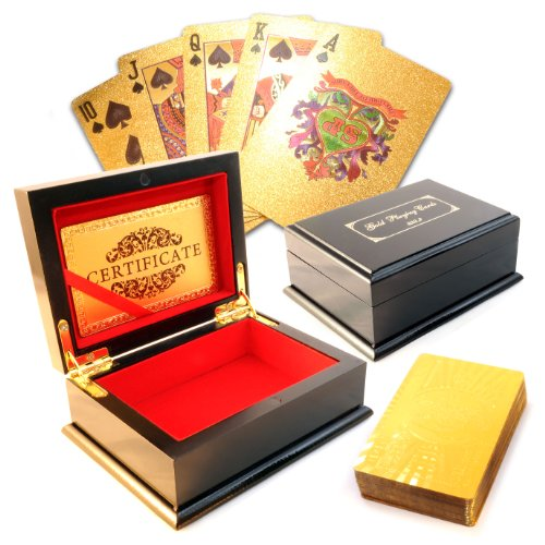 Ganzoo Poker Spiel-Karten Set, 54 Plastik / PVC-Karten im Gold-Design mit edler Holz-Schatulle
