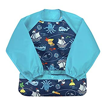 green sprouts Easy-wear Long Sleeve Bib   Waterproof Protection   Flipped Pocket Soft Material Easy Clean Smock