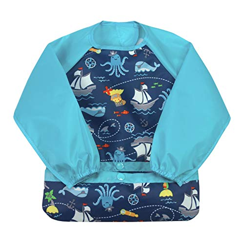green sprouts Easy-wear Long Sleeve Bib | Waterproof Protection from Mealtime to Playtime | Flipped Pocket, Soft Material, Easy Clean Smock