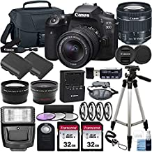 Canon EOS 90D DSLR Camera and Canon EF-S 18-55mm f/3.5-5.6 is STM Lens & Deluxe Accessory Bundle – Includes: 2X 32GB SDHC Memory Card, Extended Life Battery, Carrying Case & More!