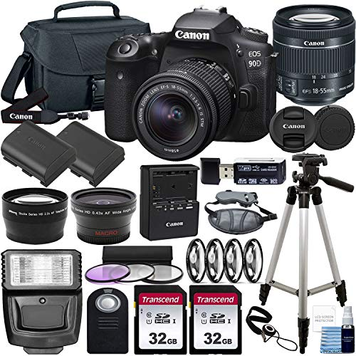 Canon EOS 90D DSLR Camera and Canon EF-S 18-55mm f 3.5-5.6 is STM Lens & Deluxe Accessory Bundle – Includes: 2X 32GB SDHC Memory Card, Extended Life Battery, Carrying Case & More!