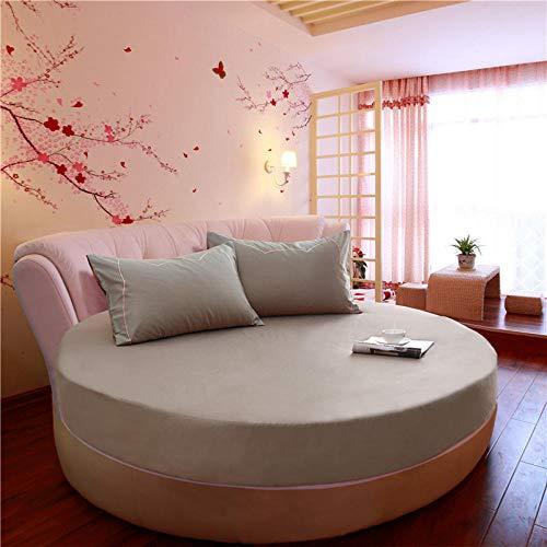 HPPSLT Protector de colchón/Cubre colchón Acolchado de Fibra antiácaros, Transpirable, Cama Redonda de algodón Color sólido Engrosamiento-Gris Plateado_2m