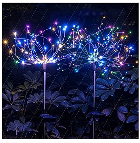 Solar pyrotechnic Lights, AOTUHA150 LED Outdoor Multi-Color Solar Garden Lights, Pyrotechnic Lights, Solar String Lights, Used for terraces, Christmas Decorations, Party Decoration Lights (2 pcs)