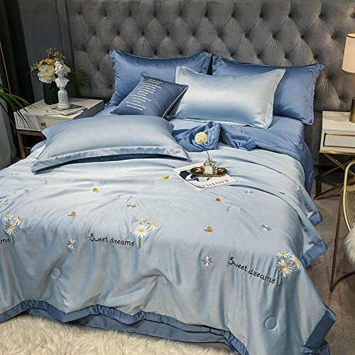 chenyaya Hollowfibre Duvet,Tencel Modal embroidered summer cool quilt, thin single and double washable spring and autumn quilt-Daisy-Orchid_78.74X90.55inch