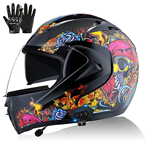 ZPTTBD Casco de Moto Modular Bluetooth, ECE Homologado Casco de Moto Scooter Integrado con Doble Visera Transpirable y Cómodo Cascos de Motocicleta para Adultos Mujeres y Hombres