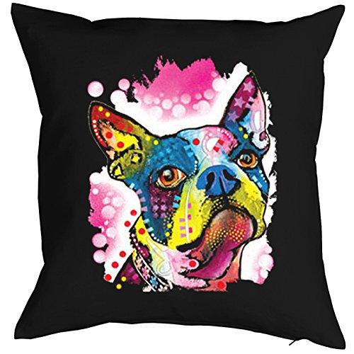 Kussensloop, kussensloop, honden, deco, overtrek voor kussens met kleurrijke hondenportrait - Boston Terrier