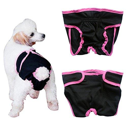 Septven Weiblich Hunde Schutzhose Haustier Unterhose Unterwäsche Welpenhose Hose Windel Hygieneunterhose Komfortabel, Atmungsaktiv-Schwarz-XS