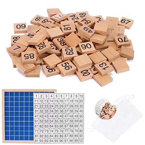 AILANDA Mathematik Spielzeug Puzzle Holz Digital Board 1-100 Mathe Lernen Spielzeug Zahlen Holz Lernspiel für Learning Resources Kinder Mathe Unterricht Spielzeug