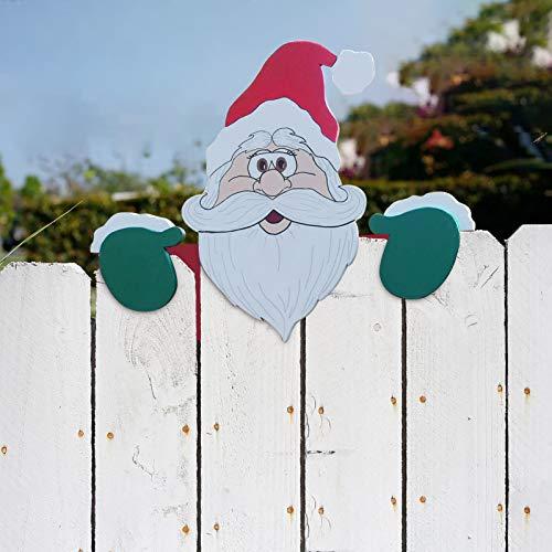 Weihnachtsmotiv Zaun und Garten Peeker, charmante Weihnachten Home Decor Einblicke in Santa Claus und Elch Geeignet Rasenweg Parkplatz Zaun Gehweg Auffahrt Urlaub Dekorationen (2 pc)
