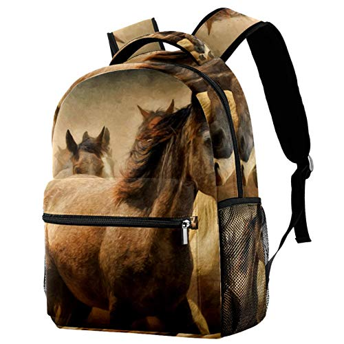 Wild Running Horses Laptop Backpack School Bag for Boys Girls Casual Bookbags Canvas Rucksack