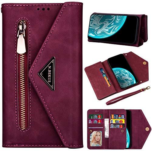 Vepbk Brieftasche Hülle für Huawei P30 Lite [nicht für P30] Handyhülle, Handytasche Case Leder Geldbörse mit Reißverschluss Kartenfach Umhängeband Wallet Cover Klapphülle für Huawei P30 Lite,Weinrot