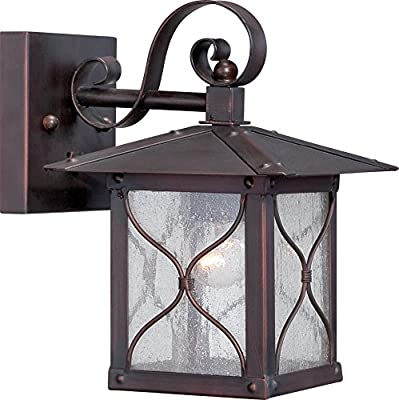 Nuvo Lighting 60/5611 Vega Small One Light Wall Lantern 60-watt A19 Outdoor Porch and Patio Lighting with Clear Seeded Glass, Classic Bronze