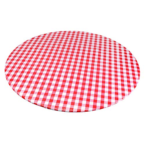FLAMEER Round Indoor Outdoor Patio Elastic Fitted Edged Flannel Backed Vinyl Table Cover Waterproof Tablecloths - Red Plaid, Suitable for 40-44in Diameter