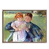 WJWGP Mary Cassatt Acuarela Pintura Madre Y NiñO Retrato Poster CláSico Pared Arte para Sala De Estar Natural Paisaje Arte Impresiones Decoracion 50x70cm No Marco