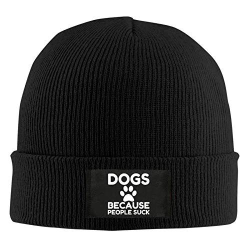 """SOUL-RAY Warme Wollmütze mit Hundemotiv """"Dogs Because People Suck"""", für drinnen und draußen, für Arbeit, Winter, Geschenk für Herren."""