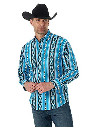 Wrangler Men's Western Aztec Print Long Sleeve Snap Shirt, Blue Checotah, X-Large