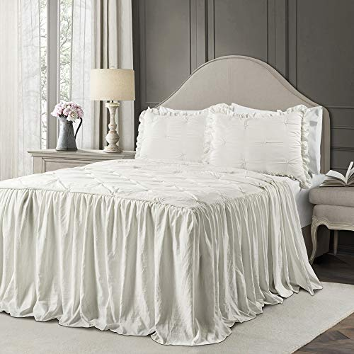 Lush Decor White Ravello Pintuck Ruffle Skirt Bedspread Shabby Chic Farmhouse Style Lightweight 3 Piece Set Full