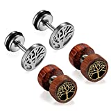 Cupimatch Womens Mens Earrings, 2 Pairs Stainless Steel Wood Tree Hoop Earrings Studs