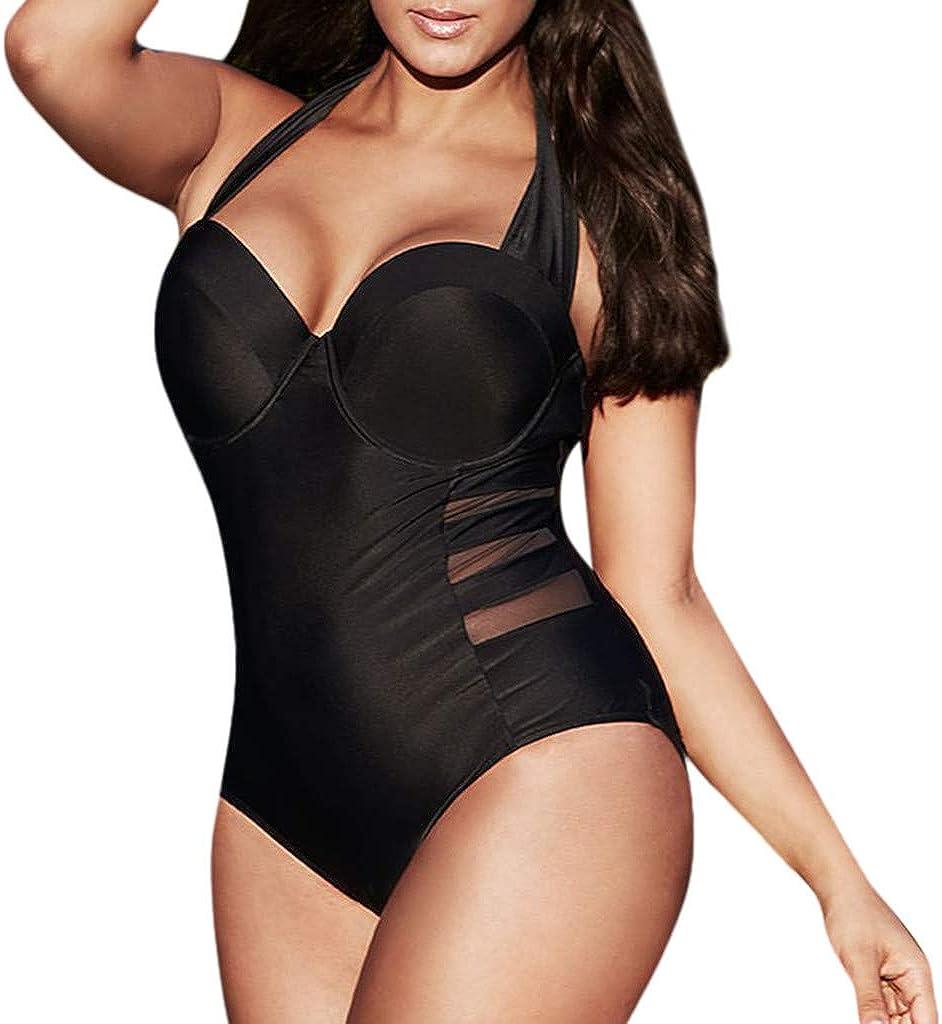 Women Sexy One Piece Swimsuits Halter Plunge V Neck Swimwear Plus Size Monokini Beachwear Bathing Suits - Limsea