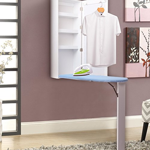 UStyle Ironing Board Center Wall Mounted Storage Cabinet Foldable with Mirror/Blackboard (with Mirror)