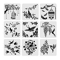 BENECREAT 30x30cmステンシルシート 鳥テーマのセット 描画テンプレート プラスチック製 正方形 手帳用 絵図 ペイント リサイクル
