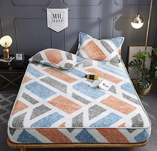XLMHZP Sábana bajera ajustable de tamaño king size, sábana bajera de franela cálida, funda de colchón Queen, bolsillo profundo suave acolchado acolchado colchón Topper-S 200 x 220 cm+30 cm