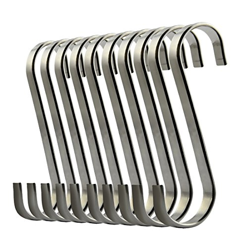 ilauke S Shaped Hooks Stainless Steel S Hanging Hooks Heavy-duty Hangers for Kitchen Bedroom and Office (10 Pack)