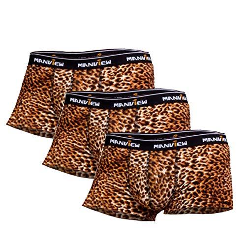 Herren Boxershorts Leoparden Animal Print Muster Unterhose 3 Pack Farbe Schwarz sexy Dessous für Männer Panty Trunks Weichbund Unterwäsche Shorts Dessous Erotik Reizwäsche Unterhosen Mikrofaser (S/M)