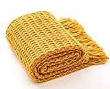 Throw Blanket, AHHUE Knitted Woven Decorative Throws with Tassels, Textured Soft Lightweight Sofa Summer Blankets for Couch,Chair,Travel and Living Room, 50 x 60 inches (Yellow)