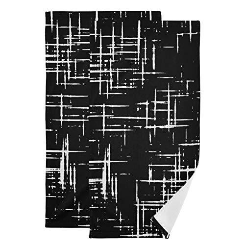 Juego de 2 Toallas para Baño Cruz Abstracta Toallas de Microfibra Dibujadas a Mano para Autos Detallado Toallas Absorbentes Suaves de Secado Rápido para el Baño Adecuado para Baño Cocina Aseo Playa
