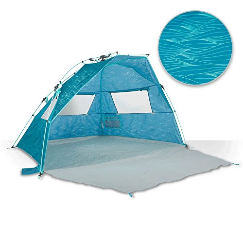 Lightspeed Outdoors Quick Cabana Beach Tent Sun Shelter, Aqua Teal Waves