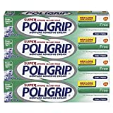 Super Poligrip Original Formula Zinc Free Denture and Partials Adhesive Cream, 2.4 ounce (Pack of 4)