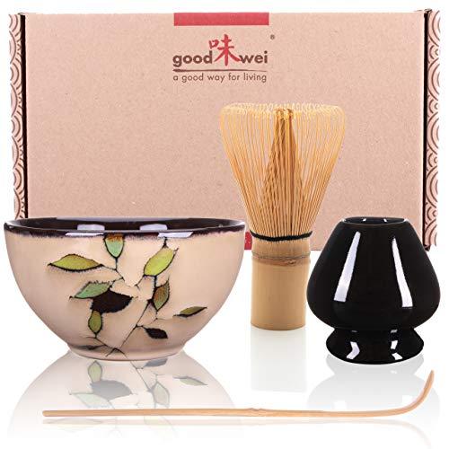Goodwei Japanisches Matcha Komplett-Set mit hochwertiger Teeschale (Bamboo, 80)