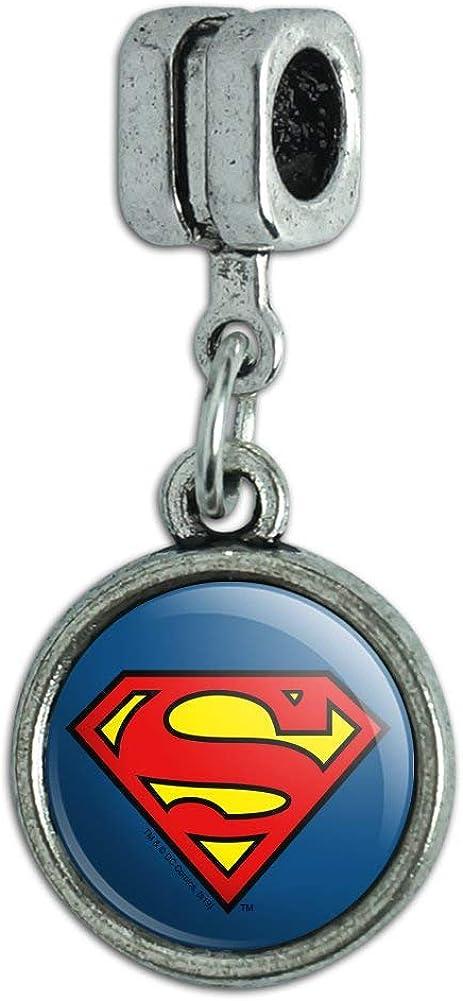 GRAPHICS & MORE Superman Classic S Shield Logo Italian European Style Bracelet Charm Bead