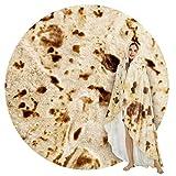 SeaRoomy Burritos Tortilla Throw Blanket, Tortilla Wrap Blanket, Novelty Tortilla Round Blanket Giant Tortilla Round Soft Blanket for Adults and Kids (Caramel Brown, 60 inches)