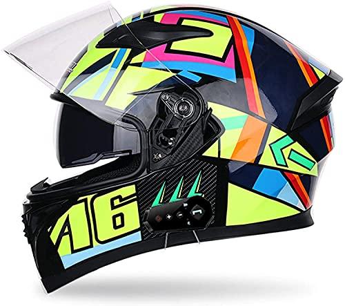 WANGFENG Casco Bluetooth unisex para adultos, aprobado por DOT, casco de motocicleta integrado con gráfico, doble visera, anti niebla, modulares abatibles (55-64 cm)