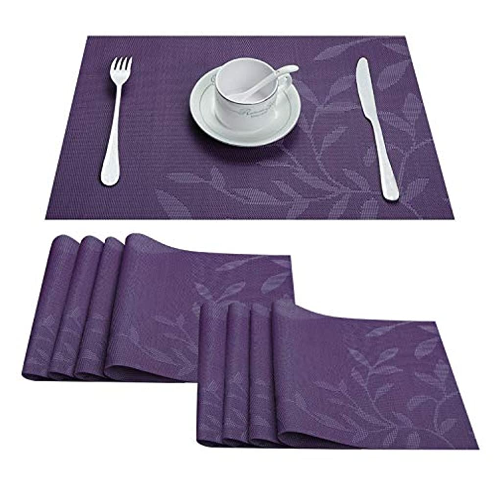 Top Finel Placemats,Plastic Table Mats Set of 8,Heat Resistant Washable Place Mats for Dinner Table,Purple