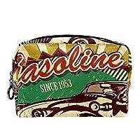 コスメティックバッグトラベルトイレタリー 毎日のポータブルジッパークロージャーメイクアップバッグ,ヴィンテージの古い車