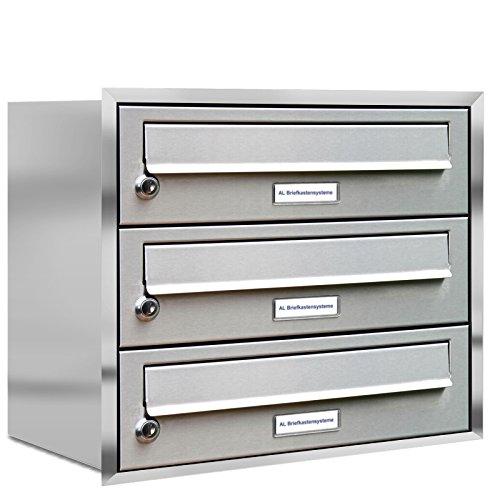 AL Briefkastensysteme, 3er Unterputzbriefkasten, Briefkasten rostfrei, 3 Fach Briefkastenanlage modern, Edelstahl Postkasten