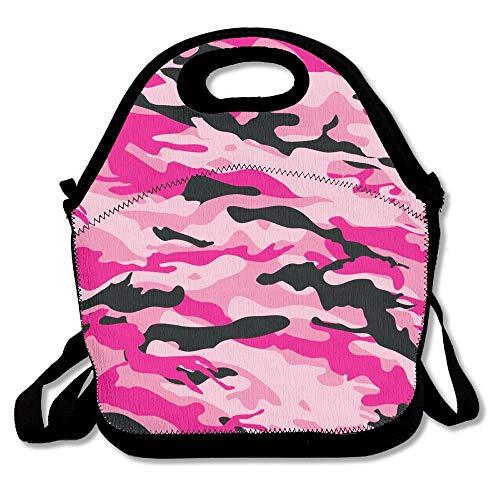 Mesllings - Fiambrera con aislamiento, diseño de camuflaje, color negro y rosa