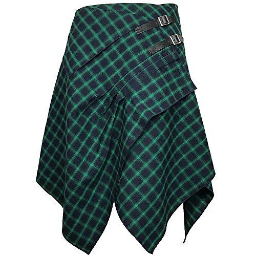 Tartan Skirt - 3 Pocket Skirt in 2 Traditional Scottish Tartan Colors (M, Sea Blue/Absinthe Green)
